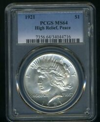 1921 Peace Dollar Pcgs Ms64 --- Lustrous White Coin --- Peace Prices Surging