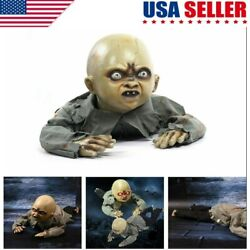 Scary Halloween Prop Animated Crawling Baby Zombie Ghost Baby Doll Haunted Party