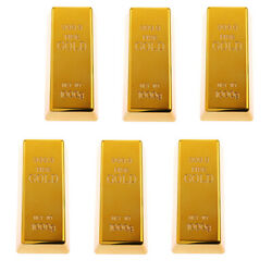 6 Lot Fake Plastic 999.9 Gold Bar Bullion Paper Weight Prop Table Decoration
