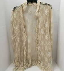 Vintage Flair Womens Cover Lace Cardigan Sweater Top Jacket Ivory Union Usa L