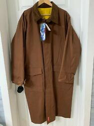 Marlboro Unlimited Gear Brn And Ylw Reversible Duster Trench Rain Coat-size L -nwt