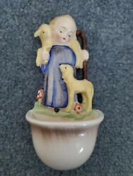 Good Shepherd/yellow Lambs Hummel 35 Holy Water Font With Rare Double Crown