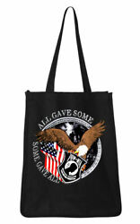 Large Canvas Shopping Travel Beach Tote Bag with All Gave Some POW MIA Design $19.95