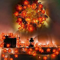 2 Pack 20ft/40led Fall Fairy Lights Battery Operated Thanksgiving Maple Red