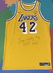 Lakers James Worthy 52+4 Hof Autograph Team Issued Authentic Pro Cut Jersey 2003