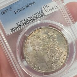 1897-s Morgan Silver Dollar Pcgs Ms66 Rainbow Toned Graded Certified Free Ship
