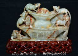 10 Chinese Natural Hetian Jade Nephrite Fengshui 5 Mouse Yuan Bao Wealth Statue