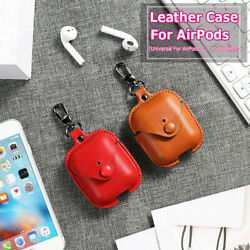 Leather Case 360° Full Protection Soft For AirPods Pro 2 1 With Keychain Hook $8.99