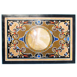 4and039x2.5and039 Black Marble Coffee Dining Sofa Table Top Antique Inlay Mosaic Lapis Qq