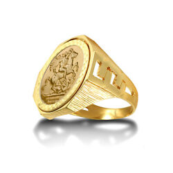 Jewelco London 9ct Gold Curb Links Octagon St George Ring Half Sov Size