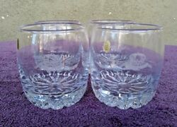 4 Crown Royal Old Fashioned Whiskey Rocks Lowball Glasses Etched Crown And Cushion
