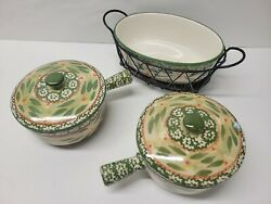 Temptations By Tara Old World Green 2 Soup Bowls And Oval Dish And Rack