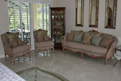 Traditional Queen Anne Style Full Sofa And Two Arm Chairs In Unused Cond.