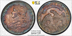 1833 50c Capped Bust Half Dollar Pcgs Au 55 Purple And Blue Toned Beauty Pretty