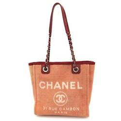 Deauville Line Pm Cc Chian Shoulder Tote Bag Rose Red Leather Used