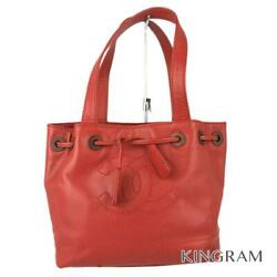 Coco Mark Drawstring Type Vintage Red Caviar Skin Tote Bag From Japan