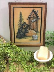 Bear Outhouse Occupied Bathroom Bath Sign Lodge Cabin Decor Camper Signs Wooden