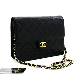 D10 Authentic Small Chain Shoulder Bag Clutch Black Quilted Flap Lambskin