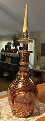 Vtg Bohemian Cut To Clear Glass Crystal Decanter Ringed Neck Gold 24andrdquo Tall