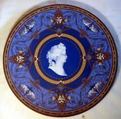 Rare Villeroy And Boch Hanging Plaque Cameo Charger, Plate Mettlach C. 1873