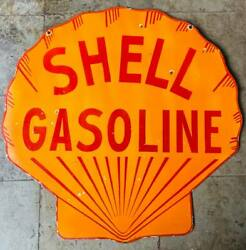 Shell Gasoline Double Sided Porcelain Enamel Sign 48 Inches