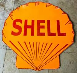 Shell Double Sided Porcelain Enamel Sign 48 Inches