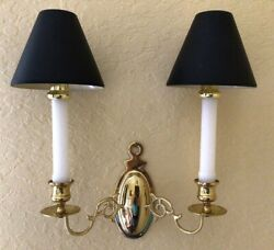 2 Baldwin Polished Brass Wall Sconces Double Arm Traditional Design W/lamp Shade