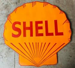 Shell Double Sided Vintage Porcelain Enamel Sign 42 Inches