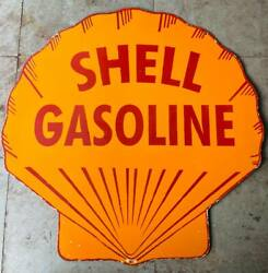 Shell Gasoline Double Sided Vintage Porcelain Enamel Sign 42 Inches