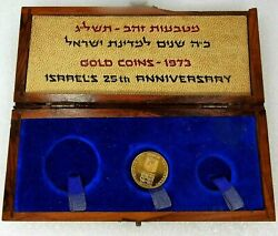 1973 Israel Proof Gold Coin Government Wooden Box One 50 Lirot 25th Anniversary