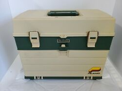 Vintage Plano Tackle Fishing Box Usa 787 Has Some Weights Bait New And Old