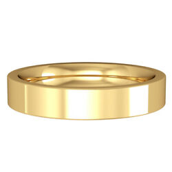 Jewelco London 18ct Yellow Gold 4mm Flat Court Wedding Band Commitment Ring