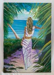 Ma Kraemer Tropical Outsider Art Painting Willowing Blonde Gazing At Ocean Palms