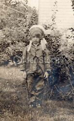 Cute Little Indian Boy Native American Chief Costume Antique Snapshot Photo