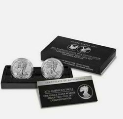 🔥american Eagle 2021 One Oz. Silver Reverse Proof Two-coin Set Designer Edition