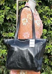 Latico Oversize Leather Shopper Tote With Wristlet Black Bag 6627 Nwt