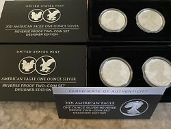 Four American Eagle 2021 One Ounce Silver Reverse Proof Two Coin Designer Sets