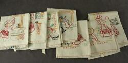 Vintage Textile Linen Hand Embroidery Seven Days Of The Week Dish Tea Towels