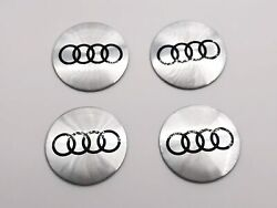 4x 56mm Polished Wheel Center Cap Decal For Audi A3 A4 A5 A6 A7 A8 Tt S4 S5 S6