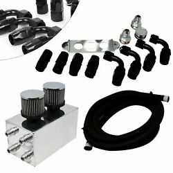Aluminum Oil Catch Can Kit 4×10 An Breather Filter For Honda Civic Acura Integra
