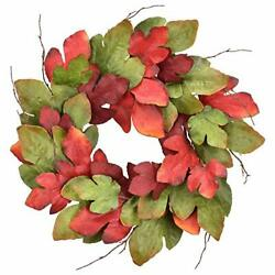 Fall Maple Leaves Wreath For Front Door, Farmhouse Artificial Maple Leaves 1