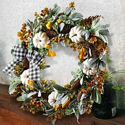 24 Inch Farmhouse Fall Wreath For Front Door With White Pumpkin,cotton,lamb's