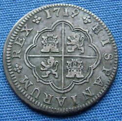 1719-j Spanish 2 Reales Silver Coin - Beautiful Condition - Estate Fresh