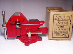 New Old Stock Vintage Sears 3-1/2'' Jaw Swivel Bench Vise Cast Iron 5178 Red.
