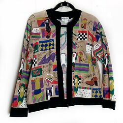 Silkscapes Vintage 80's Bomber Jacket Art To Wear Hand Painted Shoe Print Zip