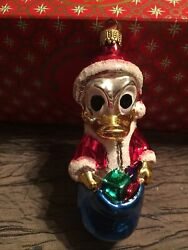 Disney Mickey - Donald Duck Glass Hand Blown Ornament - Made In Germany