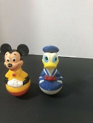 Lot Of 2 Weeble Wobble Gabriel Toys - 1 Mickey Mouse 1 Donald Duck Disney