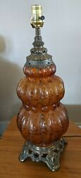 Vintage Amber Glass Lamp Ef And Ef Industries Lamp 338 1970 Melon Ribbed