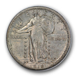 1918 D 25c Standing Liberty Quarter About Uncirculated To Ms Partial Head R993