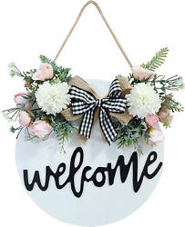 Welcome Sign For Front Door, Farmhouse Porch Décor Wooden Hanging Spring Wreath